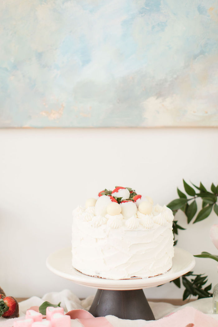 White Valentine's Day Cake from a Galentine's Day Gathering Party on Kara's Party Ideas | KarasPartyIdeas.com (28)