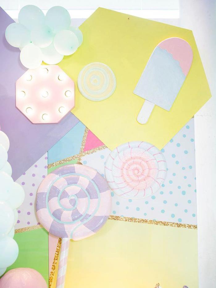 Geometric Candy Backdrop from a Geometric Candyland Birthday Party on Kara's Party Ideas | KarasPartyIdeas.com (18)