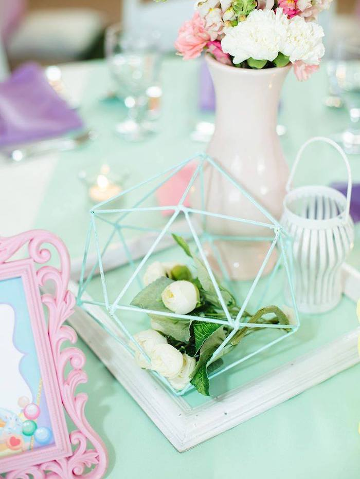 Geometric Wire + Bloom Table Centerpiece from a Geometric Candyland Birthday Party on Kara's Party Ideas | KarasPartyIdeas.com (17)