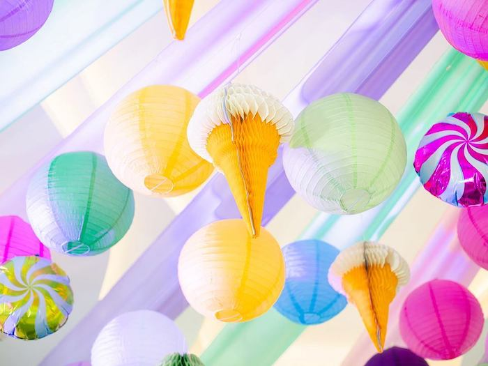 Paper Lantern + Ice Cream Cone Ceiling from a Geometric Candyland Birthday Party on Kara's Party Ideas | KarasPartyIdeas.com (15)