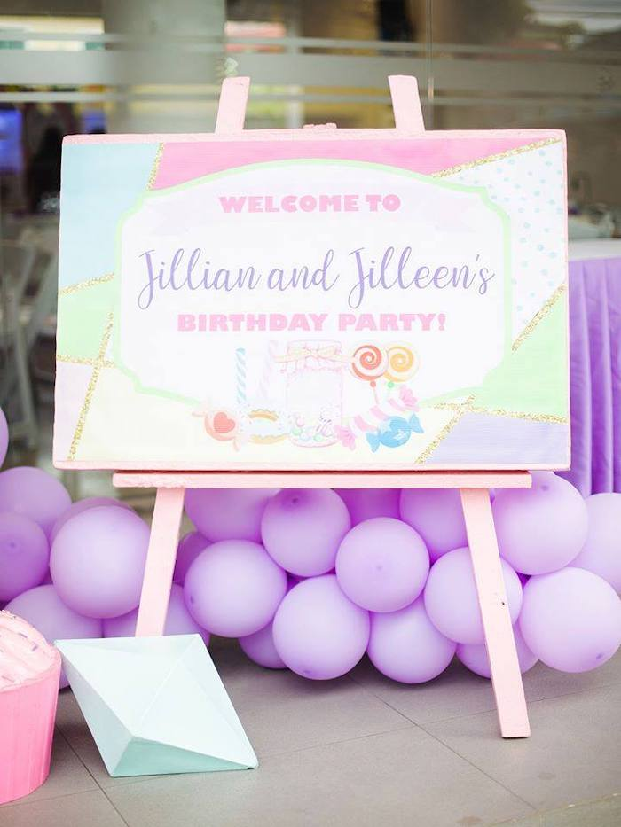 Candyland Themed Welcome Sign from a Geometric Candyland Birthday Party on Kara's Party Ideas | KarasPartyIdeas.com (13)