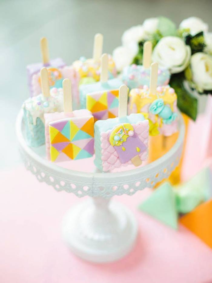 Rice Krispie Treat Pops from a Geometric Candyland Birthday Party on Kara's Party Ideas | KarasPartyIdeas.com (11)