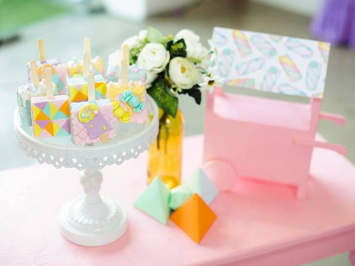 Rice Crispy Treat Pops from a Geometric Candyland Birthday Party on Kara's Party Ideas | KarasPartyIdeas.com (6)
