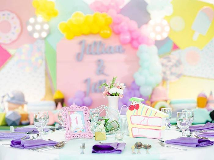 Pastel Guest Table from a Geometric Candyland Birthday Party on Kara's Party Ideas | KarasPartyIdeas.com (5)
