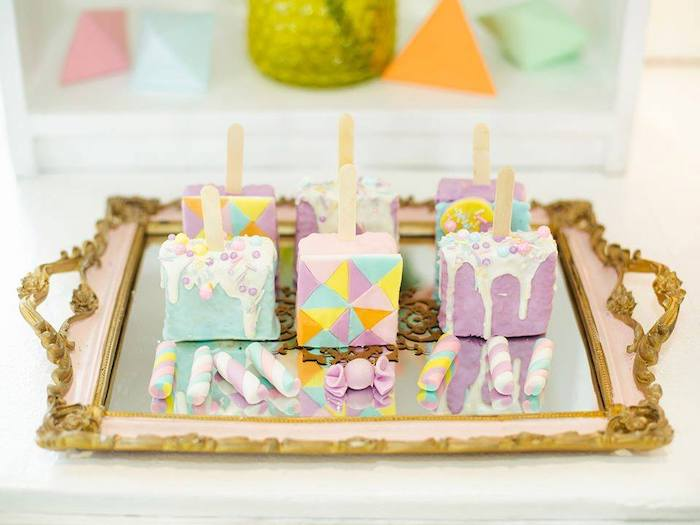 Rice Krispie Treat Pops from a Geometric Candyland Birthday Party on Kara's Party Ideas | KarasPartyIdeas.com (28)