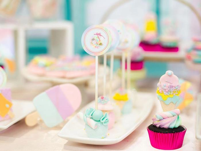 Candy-inspired Marshmallow Pops + Cupcake from a Geometric Candyland Birthday Party on Kara's Party Ideas | KarasPartyIdeas.com (26)