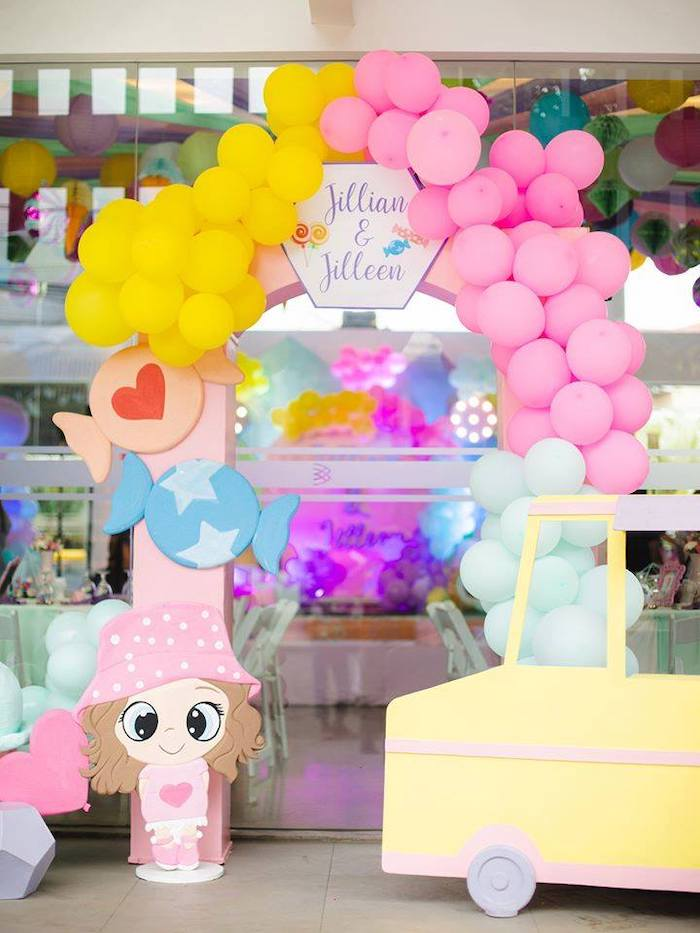 Candyland Balloon Arch from a Geometric Candyland Birthday Party on Kara's Party Ideas | KarasPartyIdeas.com (24)