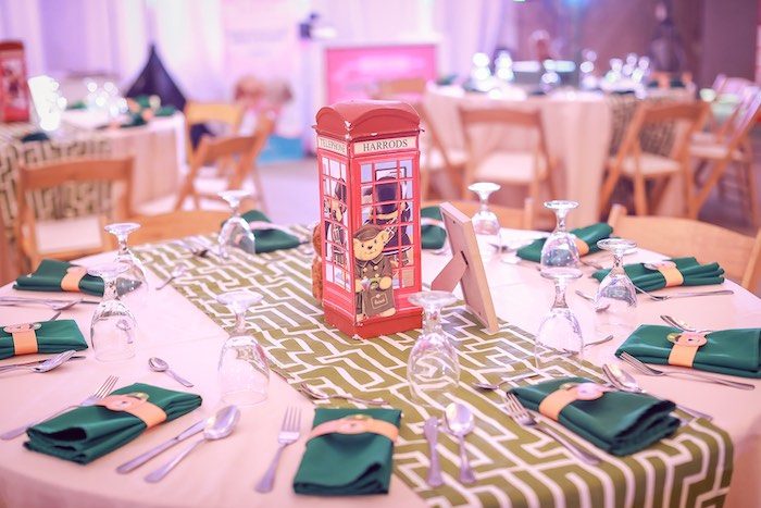 Phone Booth Guest Table from a Harrods London Inspired Birthday Party on Kara's Party Ideas | KarasPartyIdeas.com (22)