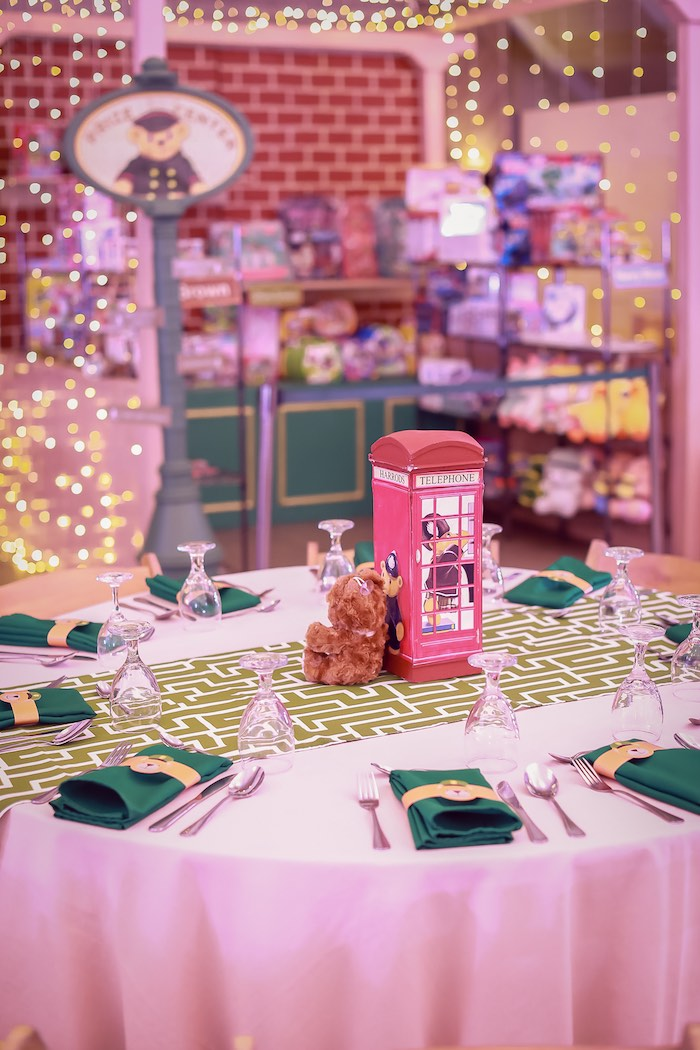 Phone Booth Guest Table from a Harrods London Inspired Birthday Party on Kara's Party Ideas | KarasPartyIdeas.com (30)