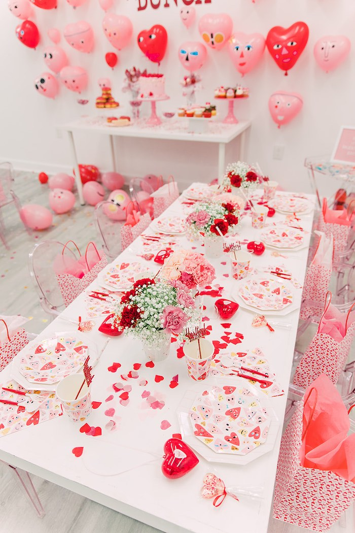 Heart-inspired Guest Table from a Heartbeat Brunch Valentine's Day Party on Kara's Party Ideas | KarasPartyIdeas.com (19)