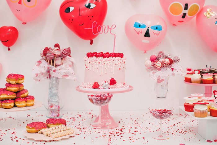Heart Themed Dessert Table from a Heartbeat Brunch Valentine's Day Party on Kara's Party Ideas | KarasPartyIdeas.com (16)