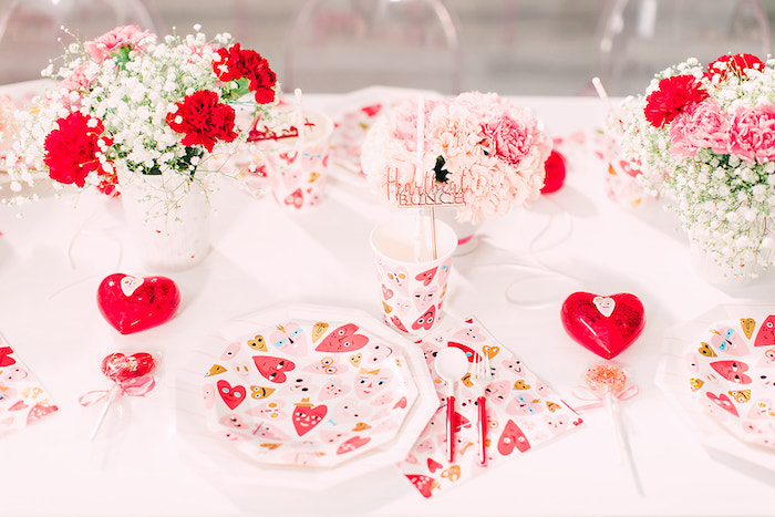 Heart Themed Table Setting from a Heartbeat Brunch Valentine's Day Party on Kara's Party Ideas | KarasPartyIdeas.com (49)