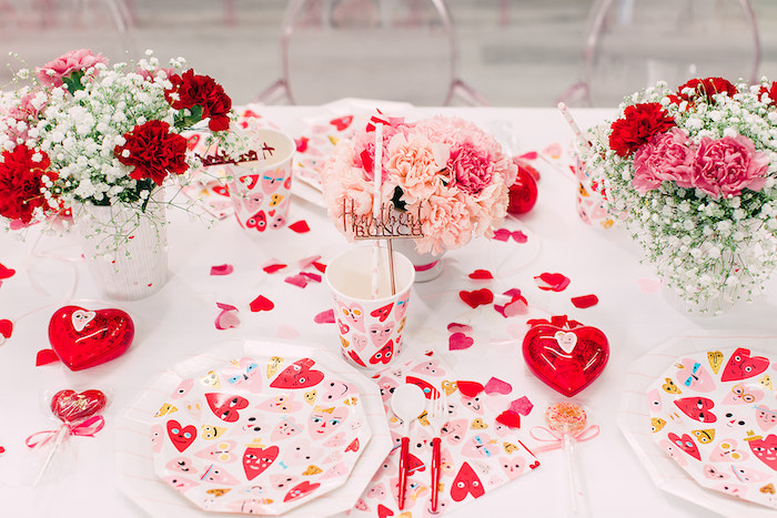 Heart Themed Table Setting from a Heartbeat Brunch Valentine's Day Party on Kara's Party Ideas | KarasPartyIdeas.com (46)