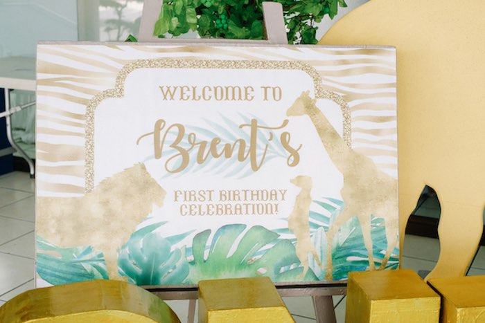 Jungle Safari-inspired Welcome Sign from a Jungle Safari Birthday Party on Kara's Party Ideas | KarasPartyIdeas.com (17)