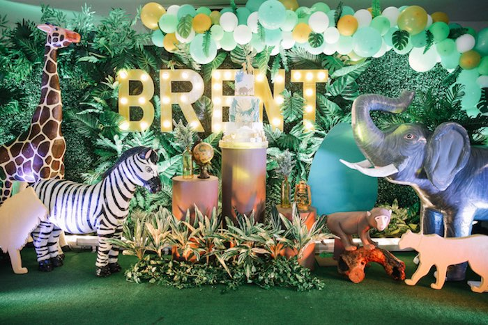 Jungle Safari Birthday Party Backdrop on Kara's Party Ideas | KarasPartyIdeas.com (13)
