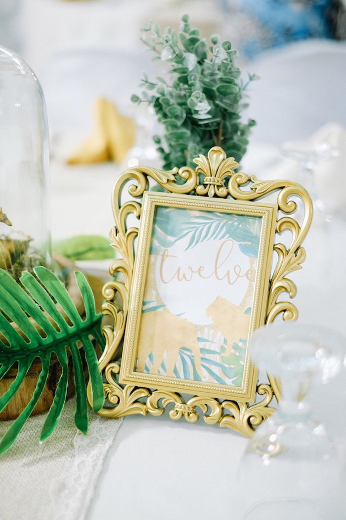 Jungle Themed Table Number from a Jungle Safari Birthday Party on Kara's Party Ideas | KarasPartyIdeas.com (22)