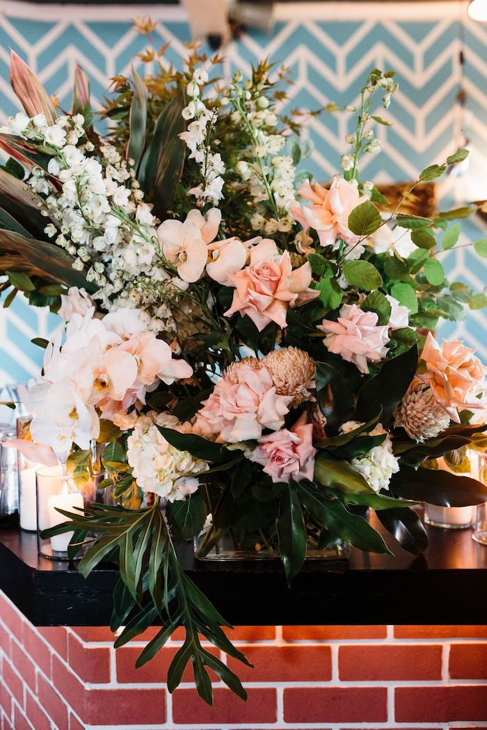Pink + White Greenery Floral Arrangement from a Melbourne City Wedding on Kara's Party Ideas | KarasPartyIdeas.com (23)