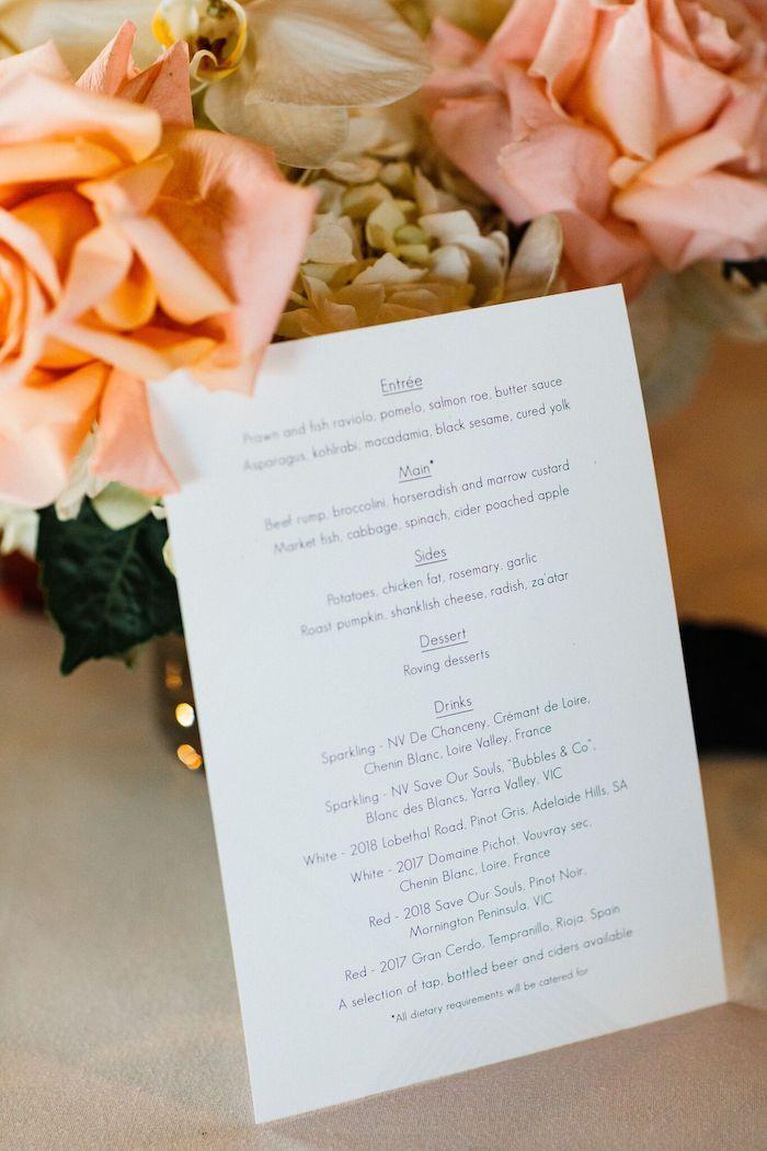 Dinner Menu from a Melbourne City Wedding on Kara's Party Ideas | KarasPartyIdeas.com (15)