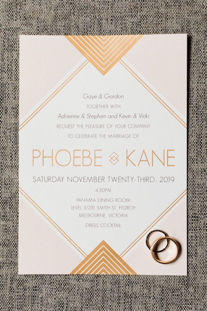Modern Pink + Gold Wedding Invite from a Melbourne City Wedding on Kara's Party Ideas | KarasPartyIdeas.com (7)