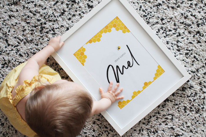 Bee-inspired Name Sign from a Modern Bumble Bee Dessert Table on Kara's Party Ideas | KarasPartyIdeas.com (16)