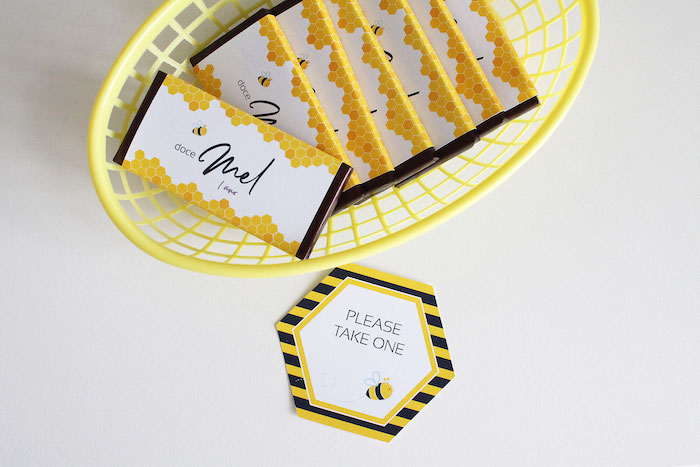 Bee Themed Candy Bars + Labels from a Modern Bumble Bee Dessert Table on Kara's Party Ideas | KarasPartyIdeas.com (15)
