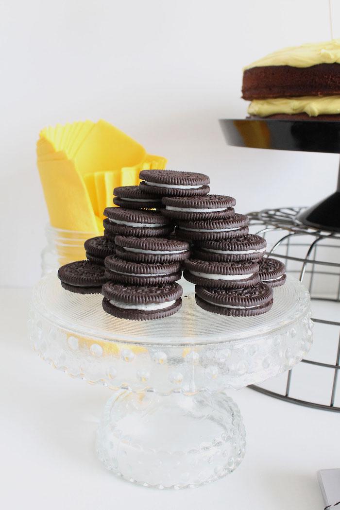 Stacked Oreos from a Modern Bumble Bee Dessert Table on Kara's Party Ideas | KarasPartyIdeas.com (14)