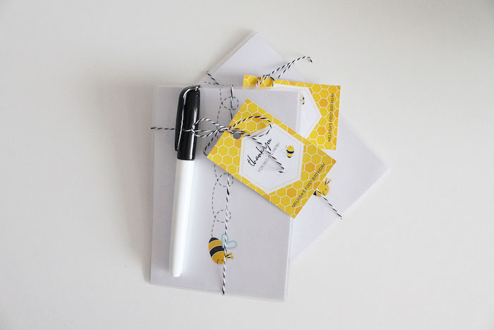 Bee Themed Note Card Favors from a Modern Bumble Bee Dessert Table on Kara's Party Ideas | KarasPartyIdeas.com (13)