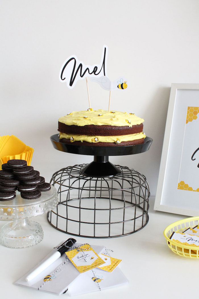 Bee Themed Chocolate Naked Cake from a Modern Bumble Bee Dessert Table on Kara's Party Ideas | KarasPartyIdeas.com (11)