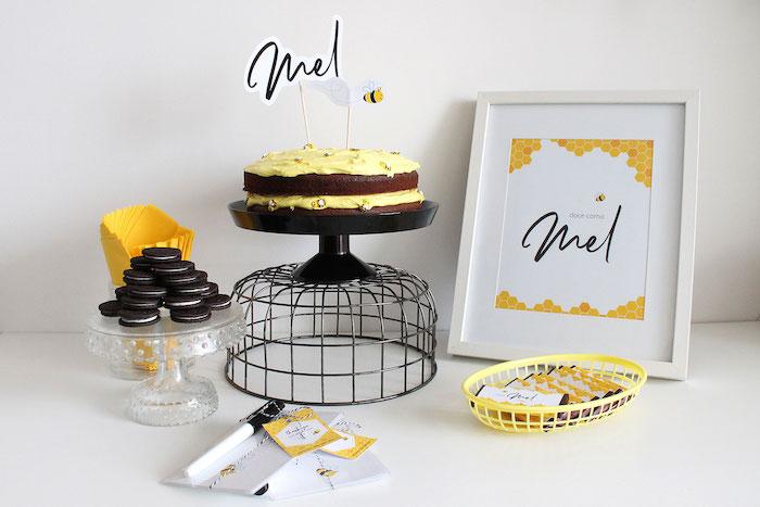 Modern Bumble Bee Dessert Table on Kara's Party Ideas | KarasPartyIdeas.com (10)