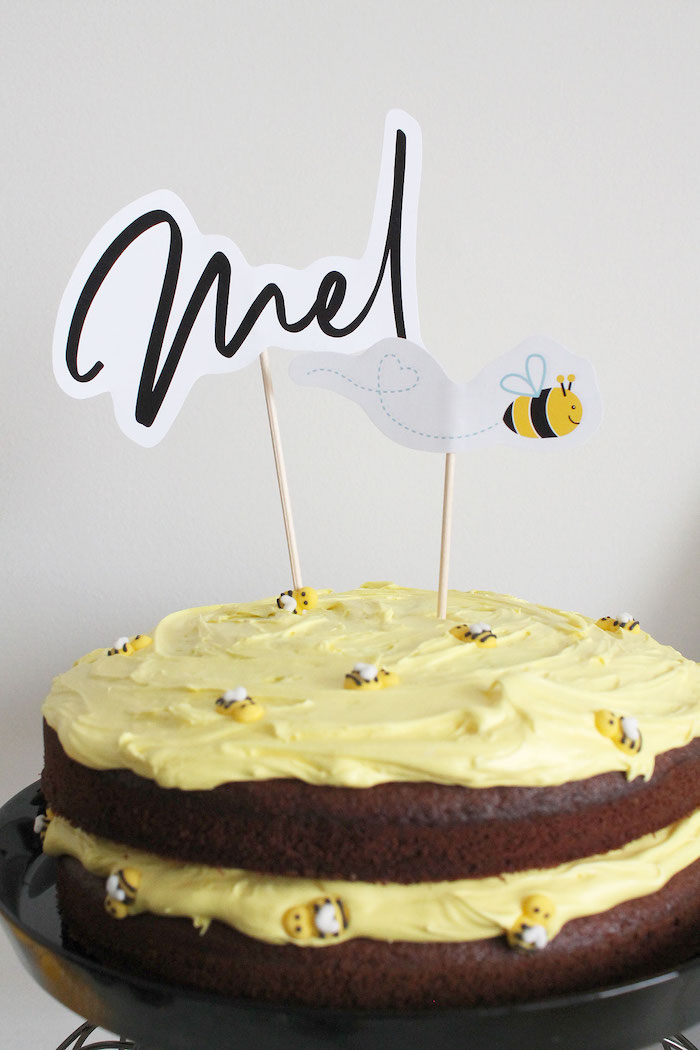 Bee Themed Chocolate Naked Cake from a Modern Bumble Bee Dessert Table on Kara's Party Ideas | KarasPartyIdeas.com (9)