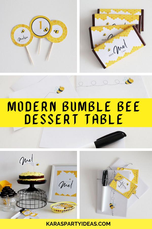 Modern Bumble Bee Dessert Table via Kara's Party Ideas - KarasPartyIdeas.com