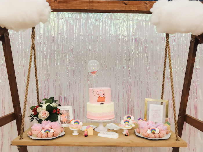 Peppa Pig Swing Dessert Table from a Muddy Puddles Peppa Pig Party on Kara's Party Ideas | KarasPartyIdeas.com (15)
