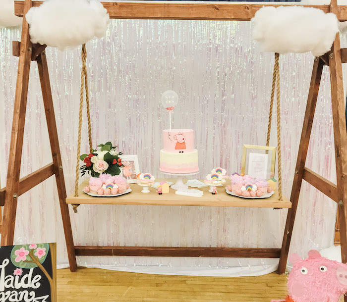 Peppa Pig Swing Dessert Table from a Muddy Puddles Peppa Pig Party on Kara's Party Ideas | KarasPartyIdeas.com (14)