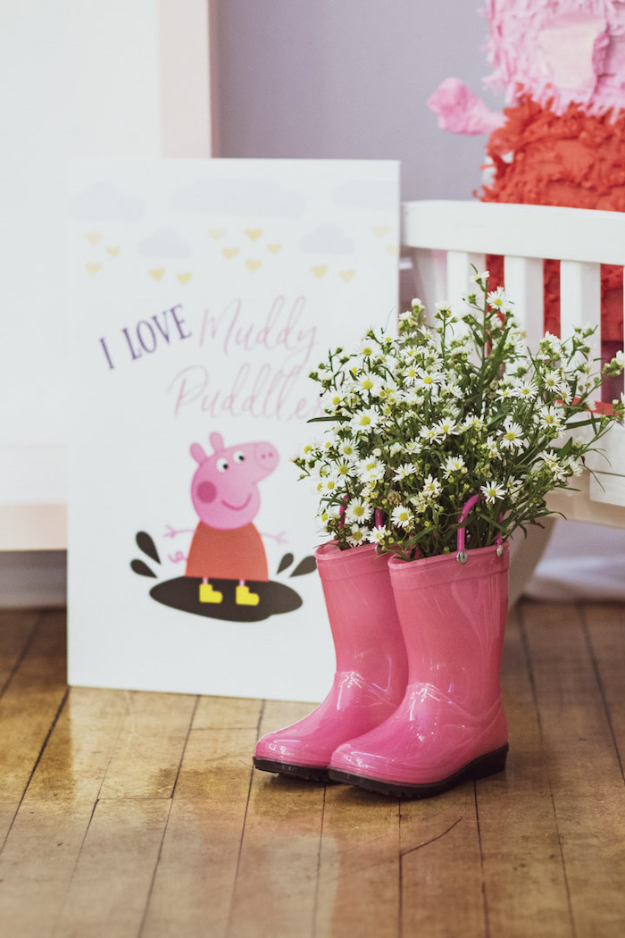 Peppa Pig Party Signage + Boot Blooms from a Muddy Puddles Peppa Pig Party on Kara's Party Ideas | KarasPartyIdeas.com (31)
