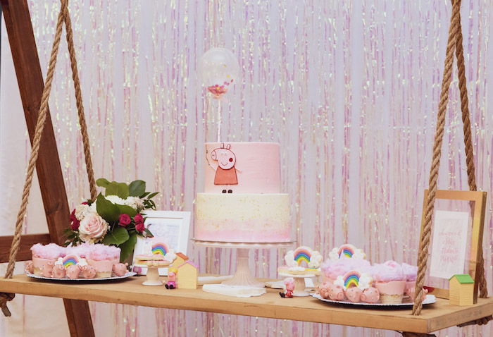 Peppa Pig Swing Dessert Table from a Muddy Puddles Peppa Pig Party on Kara's Party Ideas | KarasPartyIdeas.com (11)