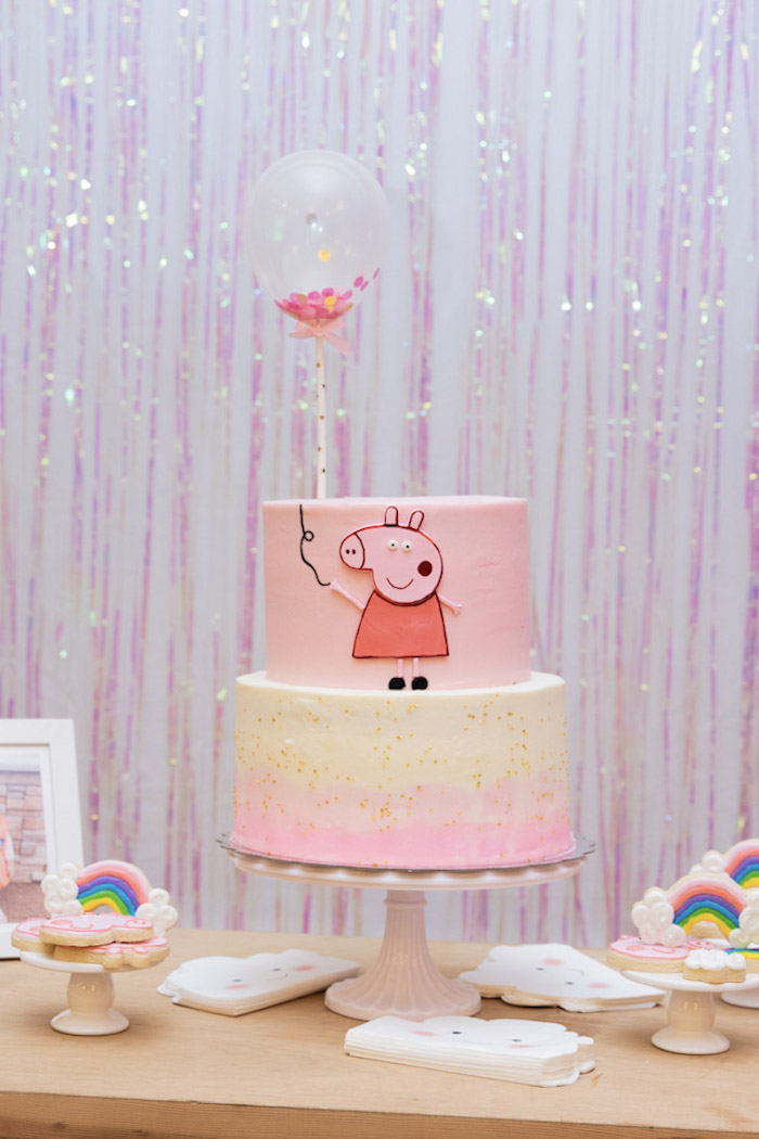 Peppa Pig Birthday Cake from a Muddy Puddles Peppa Pig Party on Kara's Party Ideas | KarasPartyIdeas.com (5)