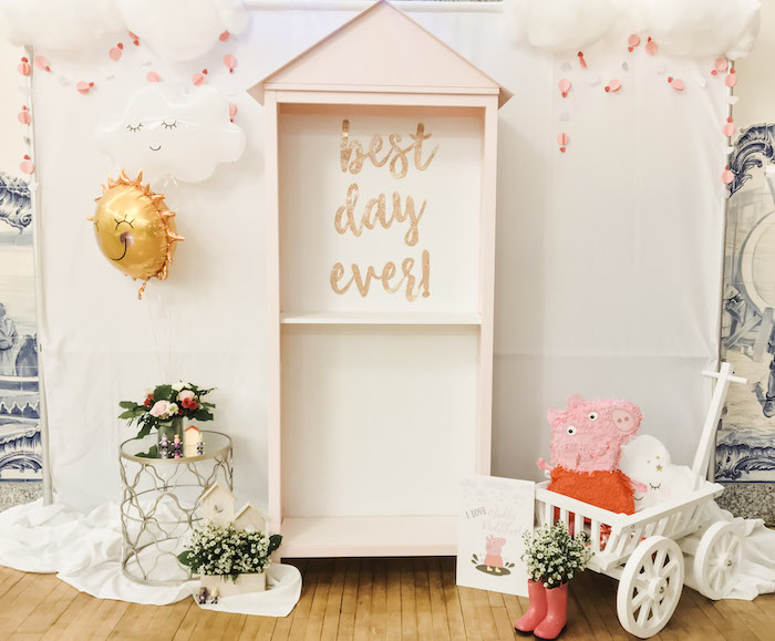 Best Day Ever - Peppa Pig Backdrop from a Muddy Puddles Peppa Pig Party on Kara's Party Ideas | KarasPartyIdeas.com (29)