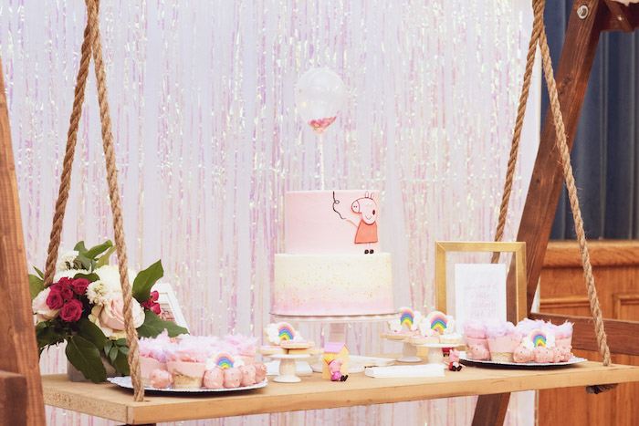 Peppa Pig Swing Dessert Table from a Muddy Puddles Peppa Pig Party on Kara's Party Ideas | KarasPartyIdeas.com (27)