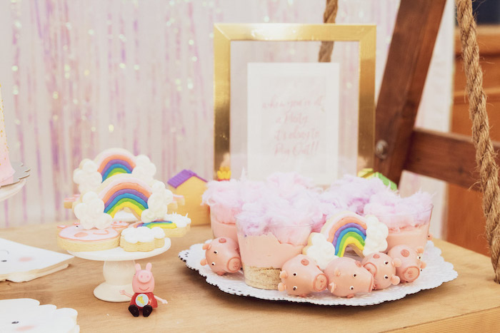 Rainbow Cookies + Peppa Pig Sweets from a Muddy Puddles Peppa Pig Party on Kara's Party Ideas | KarasPartyIdeas.com (23)