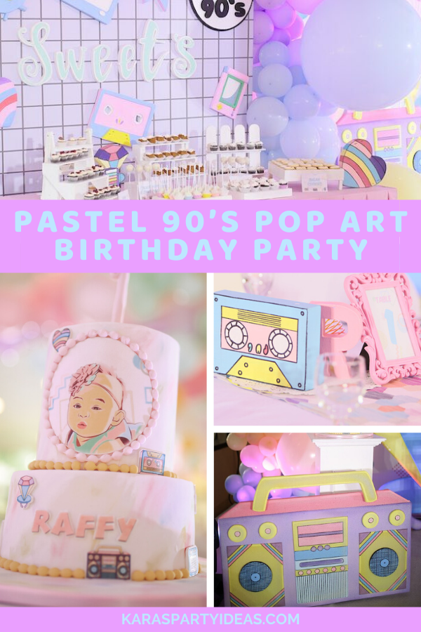 Pastel 90's Pop Art Birthday Party via Kara's Party Ideas - KarasPartyIdeas.com