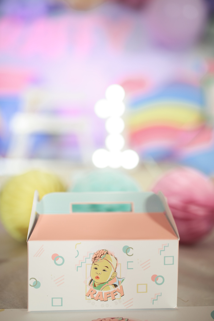 Custom 90's Themed Gable Box from a Pastel 90's Pop Art Birthday Party on Kara's Party Ideas | KarasPartyIdeas.com (22)