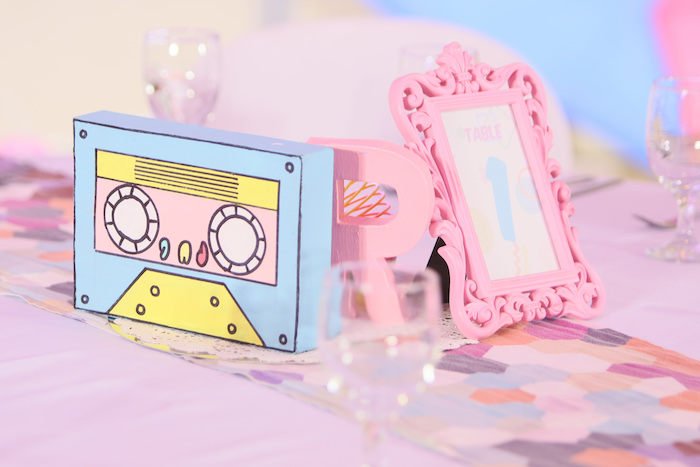 Casette Tape Table Centerpiece from a Pastel 90's Pop Art Birthday Party on Kara's Party Ideas | KarasPartyIdeas.com (21)