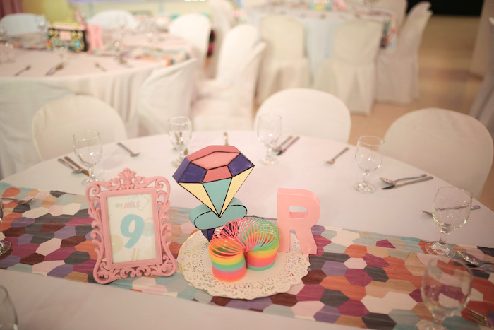 90's Themed Guest Table from a Pastel 90's Pop Art Birthday Party on Kara's Party Ideas | KarasPartyIdeas.com (19)