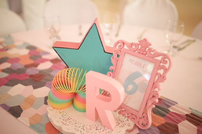 90's Themed Guest Table Centerpiece from a Pastel 90's Pop Art Birthday Party on Kara's Party Ideas | KarasPartyIdeas.com (17)