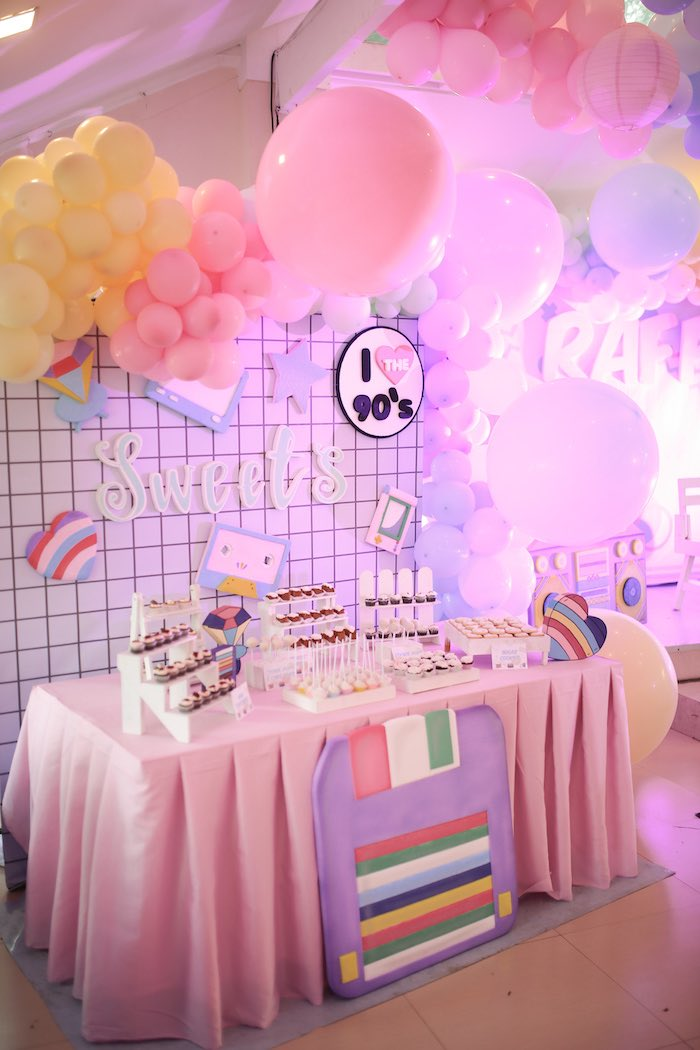 90's Themed Dessert Table from a Pastel 90's Pop Art Birthday Party on Kara's Party Ideas | KarasPartyIdeas.com (16)