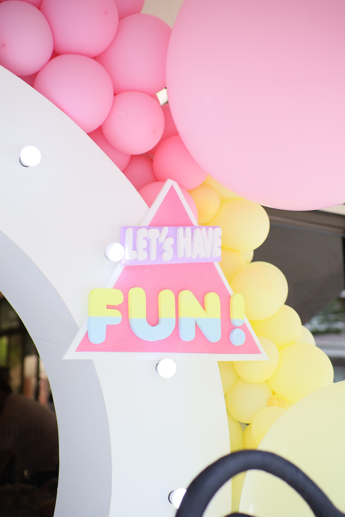 90's Themed Triangle Sign from a Pastel 90's Pop Art Birthday Party on Kara's Party Ideas | KarasPartyIdeas.com (11)