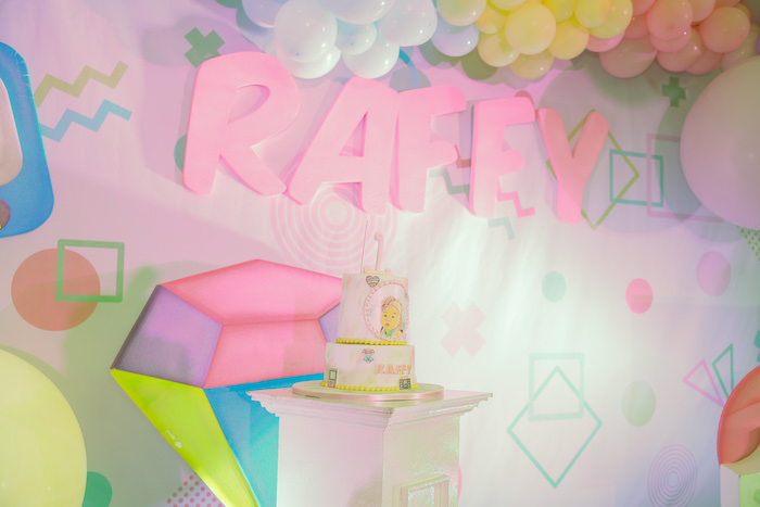 90's-inspired Name Sign + Backdrop from a Pastel 90's Pop Art Birthday Party on Kara's Party Ideas | KarasPartyIdeas.com (8)