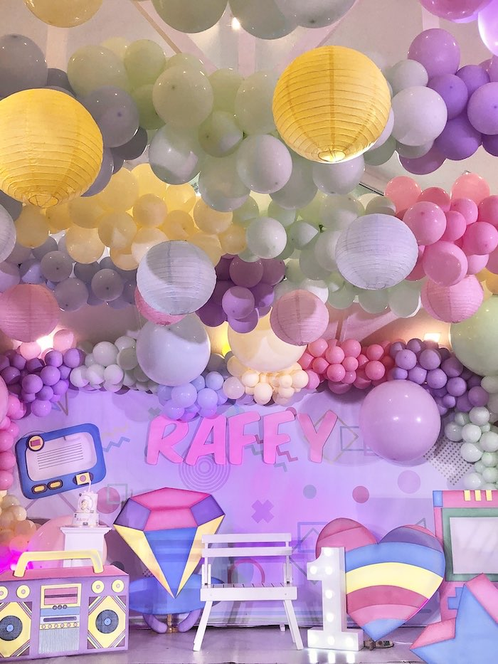 Nineties Themed Balloon Install Backdrop from a Pastel 90's Pop Art Birthday Party on Kara's Party Ideas | KarasPartyIdeas.com (4)