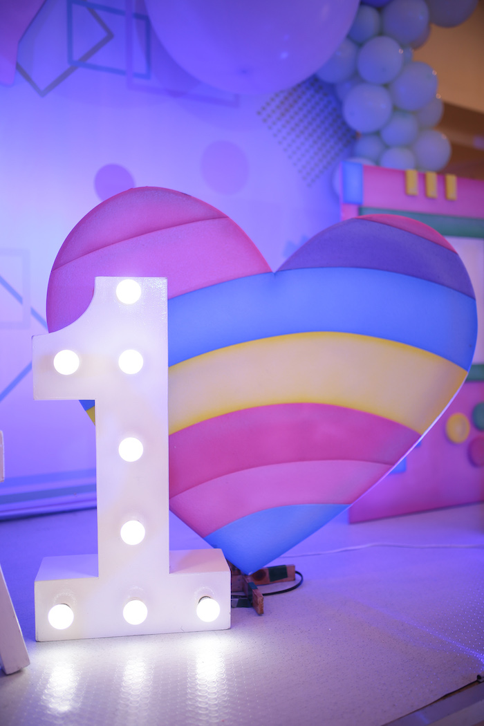 Marquee Light + Heart Prop from a Pastel 90's Pop Art Birthday Party on Kara's Party Ideas | KarasPartyIdeas.com (30)
