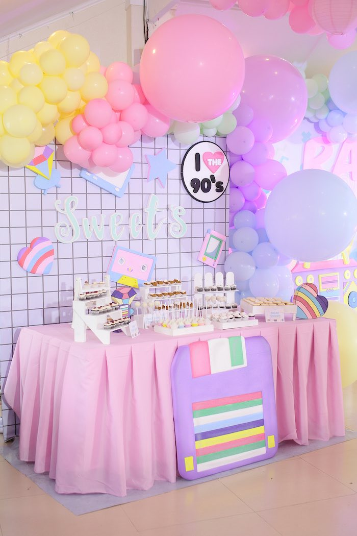 90's Themed Dessert Table from a Pastel 90's Pop Art Birthday Party on Kara's Party Ideas | KarasPartyIdeas.com (27)